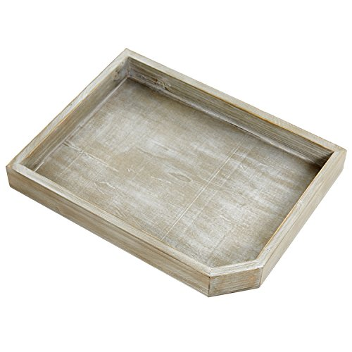 Rectangular Wood Serving Breakfast Tray, Decorative Display Holder with Rustic Gray Finish