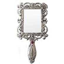 Rastogi Handicrafts German Silver Tone Purse Mirror Hand Mirrors Lovely Antique Actress Mack-up kit