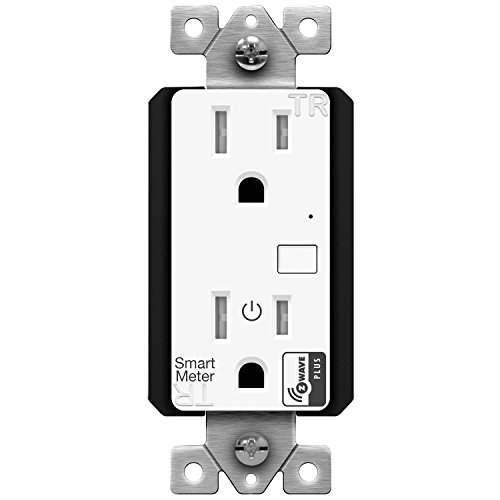 ENERWAVE Z-Wave Plus Wall Outlet with Smart Meter Energy Monitor, Smart Outlet, Z-Wave Outlet, App-Controlled Outlet for Z-Wave Home Automation, Interchangeable Face Covers, ZW15RM-PLUS