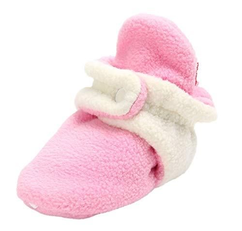 Vanbuy Baby Fleece Booties Newborn Infant Toddler Slippers Crib Shoes Warm Shoes with Anti Slip Bottom WB78-Dark Pink+White-L