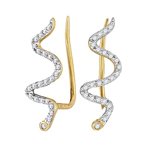 (10k Yellow Gold Diamond Snake Climber Earrings Wave Style Fashion Polished Finish Fancy 1/6 Cttw)