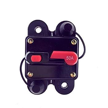 KUMEED Circuit Breaker Trolling Motor Auto Car Marine Boat Bike Stereo Audio Inline Fuse Inverter (50A)