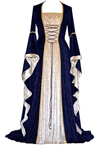 YEAXLUD Womens Renaissance Medieval Costume Dress Lace