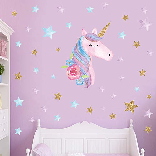 2 Sheets Large Size Unicorn Wall Decor,Removable Unicorn Wall Decals Stickers Decor for Gilrs Kids Bedroom Nursery… 4