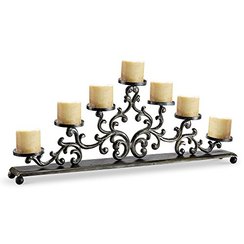 Viridian Bay Fontaine Collection Rouleau Pillar Candelabra