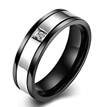 Men's Black Gold Plated Rings 6MM 316L Titanium Stainless Steel CZ Diamond Promise Wedding Rings Bands High Polish Finish Comfort Fit Size 7-10