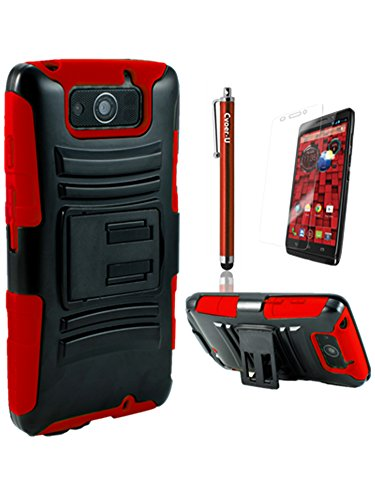 Cover-U® Motorola Droid Ultra XT1080 Extreme Rugged Dual Layer Kickstand Combo Case with Belt clip Holster Red Included Free Premium Screen Protector and Free Cover U (TM) Stylus Touch Screen Pen