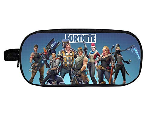 EOLIURR 1 Pcs Newest Fortnite Game Large Big Capacity Canvas Double Zipper Pen Bag Pencil Case Cosmetic Makeup Bag Pouch Stationery Office School Supplies Holder Set by EOLIURR