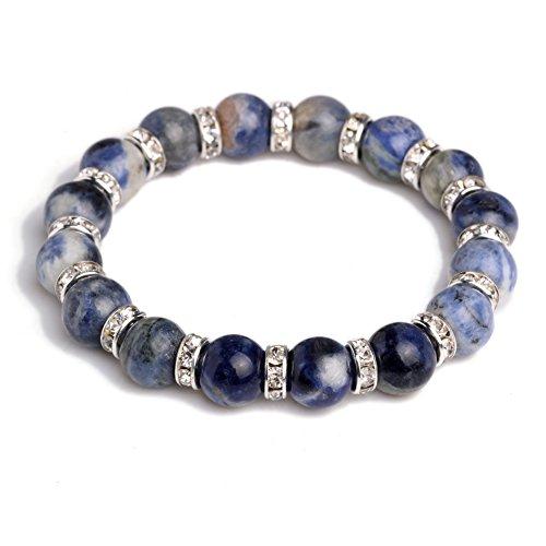 JDZ Amulets 10mm Chakra Stone Reiki Healing Beaded Elastic Stretch Handmade Crystal Bracelet