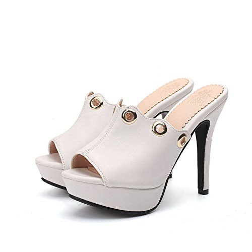 Hole White Women's Heel Stiletto Slipper Toe SaraIris Metallic Circular Casual Shoes Summer Peep Platform xYf1Owawq