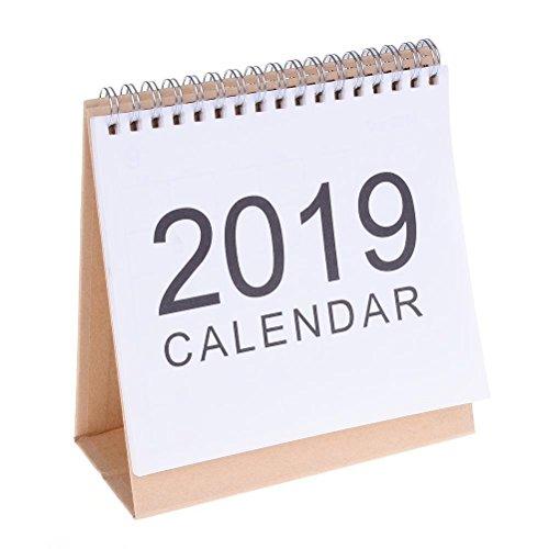 TUANTUAN 1 Pcs Small 2018-2019 English Desk Calendar Stand up Desktop Paper Calendar American Holiday Calendar