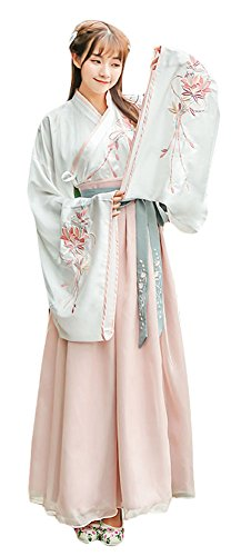 Plaid&Plain Women's Chinese Hanfu Retro Halloween Embroidered Dress Cosplay Pink S - Chinese Fancy Dress Ideas