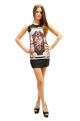 Kleid mit aufwändigen Muster und Strasssteinen Cream