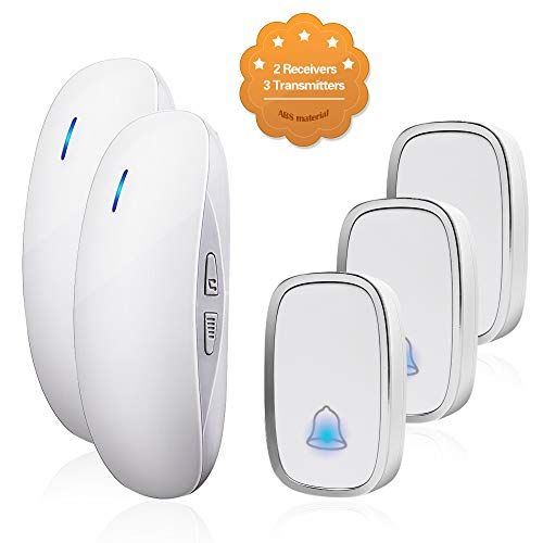 Light 3 Bell (Wireless Doorbell Door Chime Kit Portable Waterproof Push Button over 900ft Long Range 4-Level Volume & Blue Light 36 Melodies to Choose 3 Transmitters-White (2Receivers))