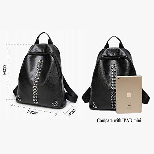 New Korean Shoulder L027de Black 2017 Backpack Women's Fashion Msxuan Bag Pu Leather Leisure b TqIESKw