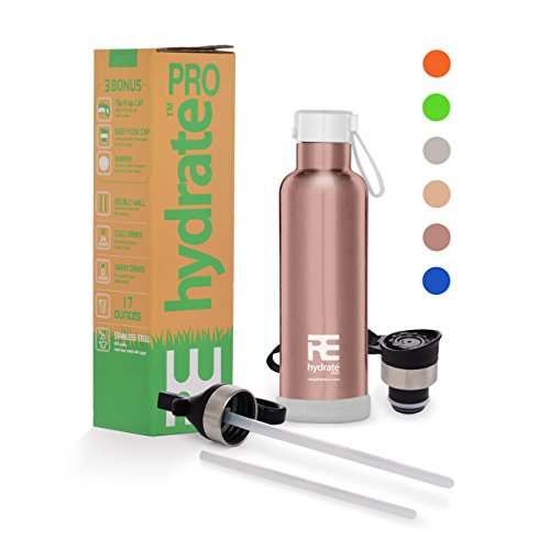 Rehydrate Pro Kids (Rose Gold 17 oz) Insulated Water Double Wall Bottle Stainless Steel Metal Flask Bonus Lids and Straws. Simple Modern Thermal Leak Proof Flask that keeps Drinks Cold and Hot (Roses Coaster Set)