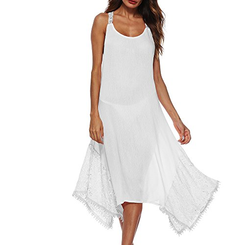 - Womens Dress Summer O-Neck Boho Sleeveless Floral Printed Beach Mini Dress Casual T-Shirt Short Dress White