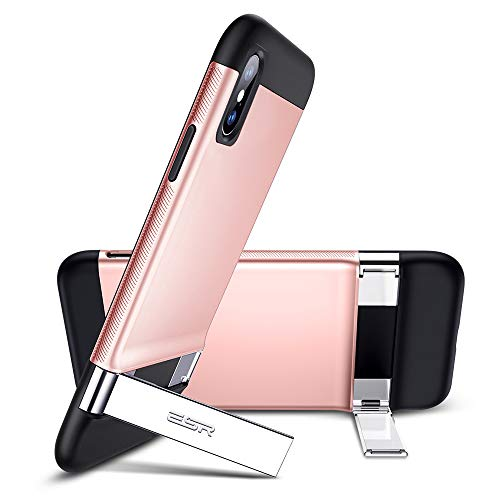 ESR Metal Kickstand Case for iPhone Xs/X, [Vertical and Horizontal Stand] [Reinforced Drop Protection] Hard PC Back with Flexible TPU Bumper for The iPhone Xs/X, Rose Gold