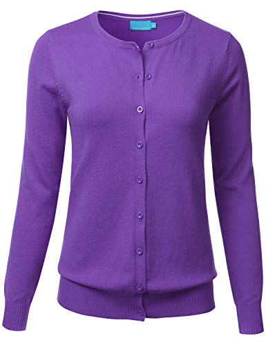 (FLORIA Women's Button Down Crew Neck Long Sleeve Soft Knit Cardigan Sweater Ultraviolet L)