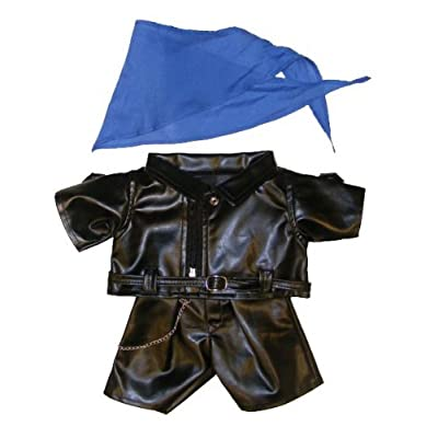 "Biker Outfit Teddy Bear Clothes Fits Most 14"" - 18"" Build-A-Bear and Make Your Own Stuffed Animals : Toys & Games"