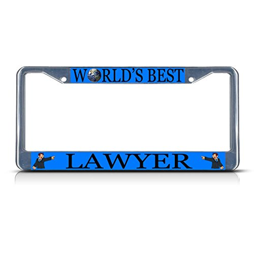 Lawyer Career Profession Metal License Plate Frame Tag Border Two Holes Perfect for Men Women Car garadge Decor
