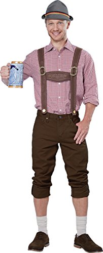 Male Costumes With Suspenders (California Costumes Men's Lederhosen Kit, Brown, One Size)