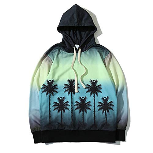 SCORCX Sweater Hooded Sweater Gradient Coconut Tree Trend Sweater Tide Brand Couple Casual Sweater Breathable Hip Hop Youth Men and Women Sweater