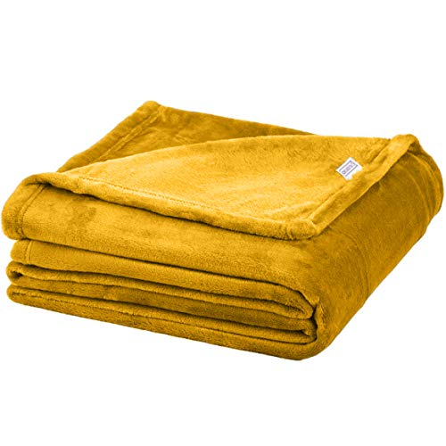 Soft Fleece Throw Blanket - Plush Blanket for Bed or Couch - Fuzzy Flannel Blanket - for Bedroom, Living Room and Travel - Blissford (Throw, Mustard - Solid)