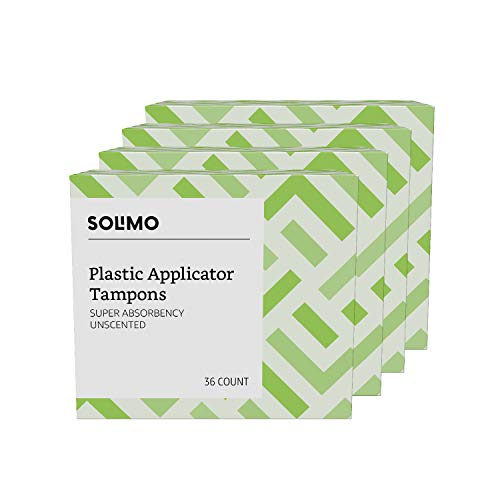 Amazon Brand - Solimo Plastic Applicator Tampons, Super Absorbency, Unscented, 144 Count (4 packs of 36)