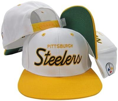 Pittsburgh Steelers White/Black Script Two Tone Adjustable Snapback Hat / Cap