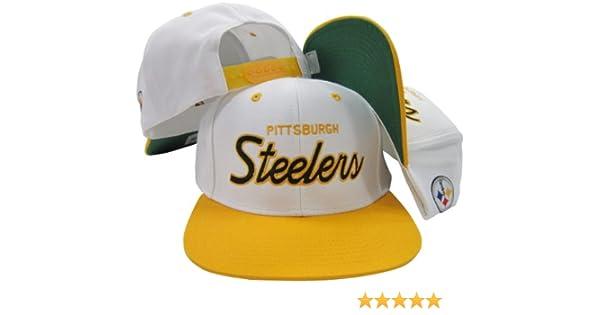Amazon.com   Pittsburgh Steelers White Black Script Two Tone Adjustable Snapback  Hat   Cap   Sports Fan Baseball Caps   Sports   Outdoors 4697ced83bdb