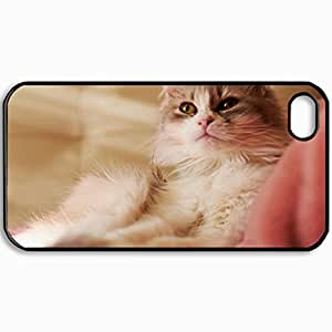 Personalized Protective Hardshell Back Hardcover For iPhone 4/4S, Is Cat Cat Tissue Design In Black Case Color