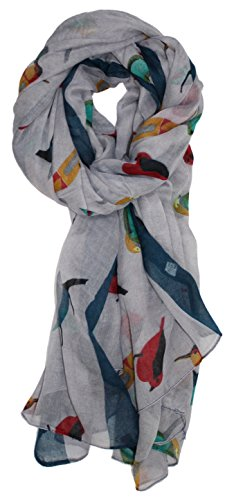 (Ted and Jack - Bird Lovers Allover Songbird Print Scarf (Grey) )