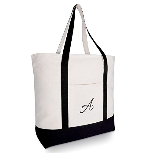 DALIX Personalized Tote Bag Monogram Black - A