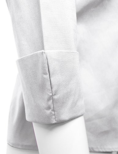 ELF FASHION Roll up 3/4 Sleeve Button Down Shirt for Womens Made in USA (Size S~3XL) White 3XL by ELF FASHION (Image #5)
