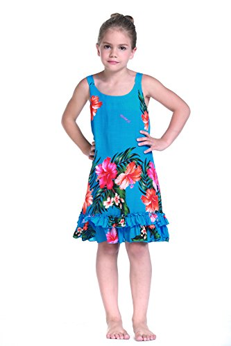 Girl Tank Ruffle Hawaiian Luau Dress in Turquoise