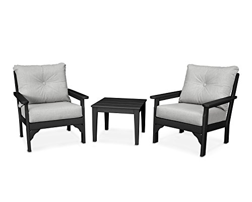 POLYWOOD Vineyard 3-Piece Deep Seating Set (Black/Canvas Granite) (Polywood Set Lounge)