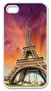 Iphone 4 4s PC Hard Shell Case Eiffel Tower in the Sunset White Skin by Sallylotus