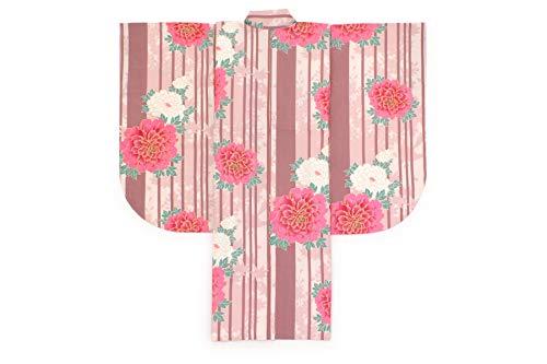 袴用二尺袖着物 CECIL McBEE(セシルマクビー) ピンク 牡丹 花 縞 ストライプ 紅葉 重衿付き 小紋柄 小振袖 卒業式 謝恩会 女性 日本製