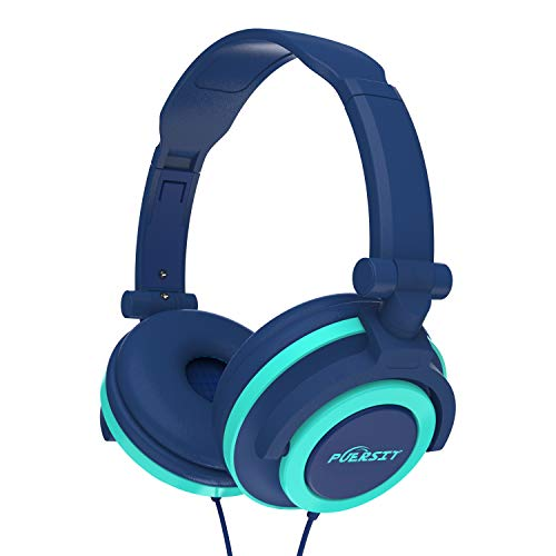 PUERSIT Headphones for Kids, Stereo Bass Earphones Foldable Over Ear Headsets 3.5mm Jack for Children (Blue)