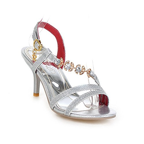 AmoonyFashion Womens Soft Leather Buckle Open-Toe High-Heels Solid Sandals Silver qSJkW