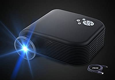 208 Projector(Warranty Included),XINDA Huge Screen Video Projectors 1080P Home Cinema Theater Support Smartphones, DVD Player, Laptops and Tablets(Black)