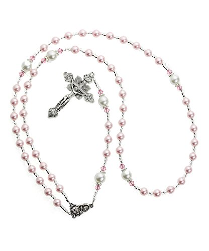 Crystal Dream Luxury Child Keepsake Silver Rosary with Pink Simulated Pearls (RNPPP)