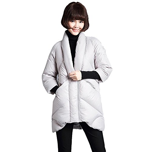 outwear waterproof sleeve 3 thickened gray warm 4 lightweight long hooded short women's down coats light v collar zipper parkas jacket wB0xgnZqSO