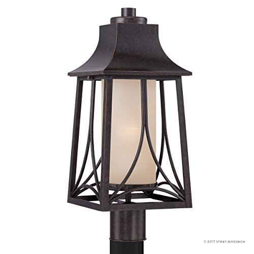 Luxury Asian Outdoor Post Light, Large Size: 21''H x 8.5''W, with Craftsman Style Elements, Airy and Simplistic Design, Beautiful Royal Bronze Finish and Light Amber Glass, UQL1083 by Urban Ambiance by Urban Ambiance (Image #7)
