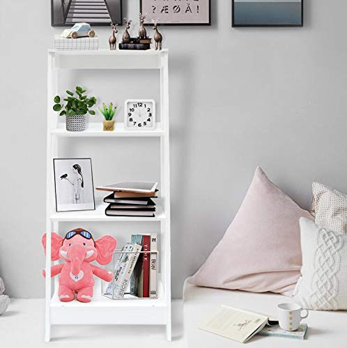 Coismo 3-Tier Ladder Functional Shelf Wooden Home Office Storage Bookcase Display, White by Coismo (Image #2)