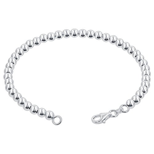 Gem Avenue 925 Sterling Silver 4mm Beads Bracelet With Lobster Clasp (7-8 inch Available)