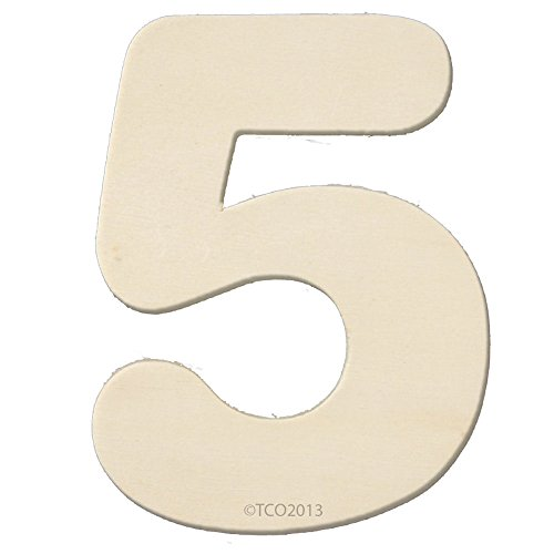 The Crafts Outlet 4-Inch Unfinished Plywood Wooden Number, 1/4-Inch Thick, Number 5