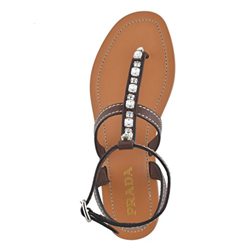 Brown Strappy Leather Sandals Shoes Women's Brown Prada q5UtnwTxF