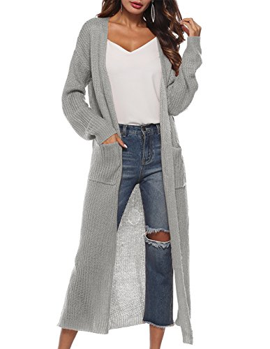 - Womens Casual Long Sleeve Open Cardigan Sweater Maxi Knitted Slide Split Dusters with Pockets S - 3XL Grey
